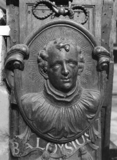 Communiebank : Aloysius de Gonzaga , Ignatius van Loyola en Franciscus Borgia.