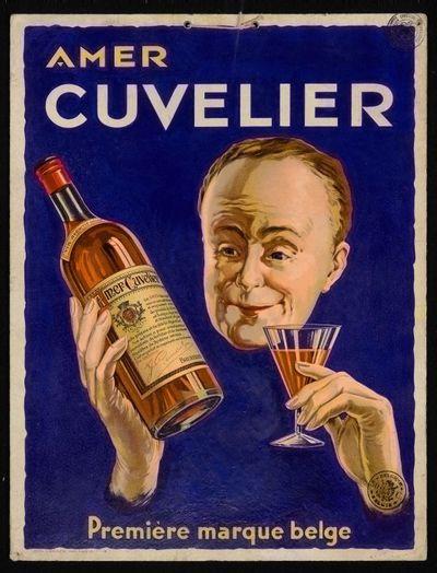Pancarte 'Amer Cuvelier' voor stokerij L.B. Cuvelier, Brussel, 1933