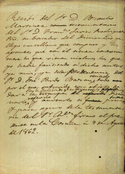 Borrador dun recibo de Antonio de la Iglesia a nome de Braulio Martínez