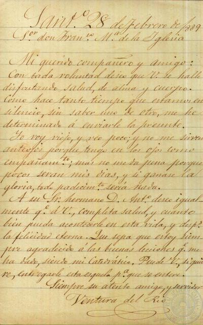 Carta de Ventura del Río