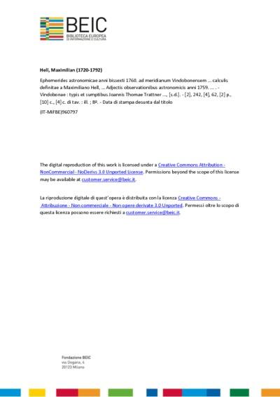 Ephemerides astronomicae anni bissexti 1760. ad meridianum Vindobonensem ... calculis definitae a Maximiliano Hell, … Adjectis observationibus astronomicis anni 1759. ...