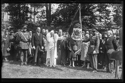 Remise de distinctions: Koningin Elisabeth overhandigt de vlag aan de blinden van de oorlog