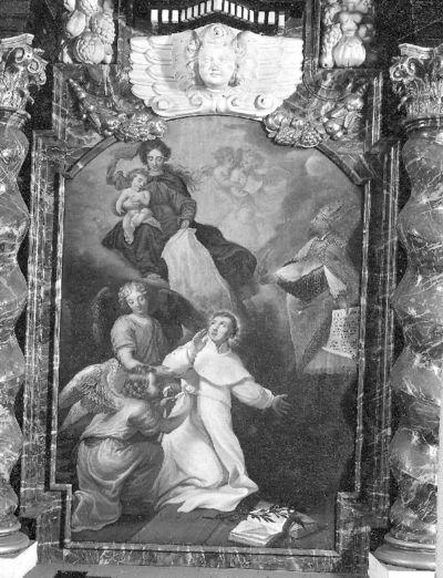 Onze-Lieve-Vrouw overhandigt aan Sint-Norbertus het ordeshabijt en Sint-Augustinus schenkt de kloosterregel