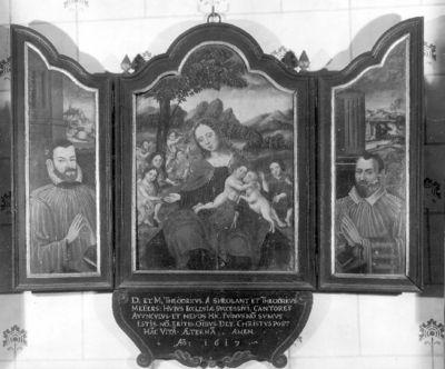 Onze-Lieve-Vrouw met kind, Johannes de Doper en twee kanunniken