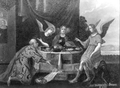 Abraham dient de maaltijd op aan de drie engelen