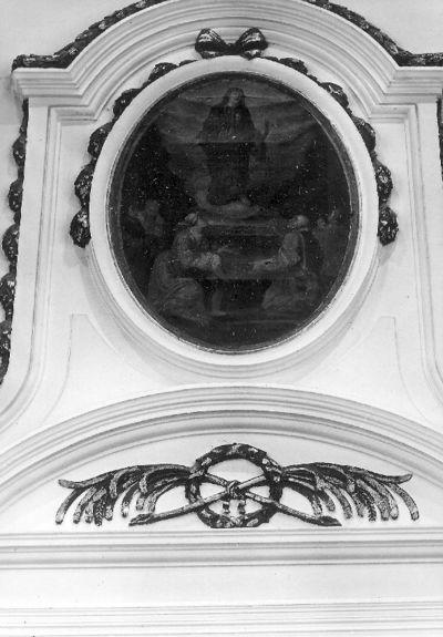 Ovale schildering verwerkt in de O. wand: Verering van H. Pancratius