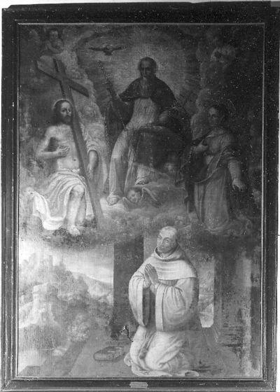 Trap des Heils met monnik in aanbidding