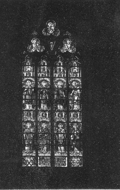 Glasraam met Heilige bisschoppen van Maastricht, Luik, Tongeren en Keulen