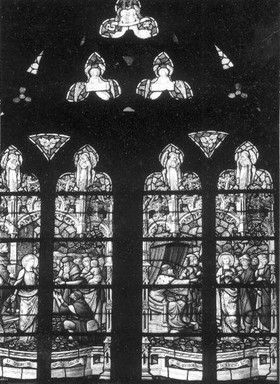 Glasraam met taferelen uit het leven van de Heilige Lucia