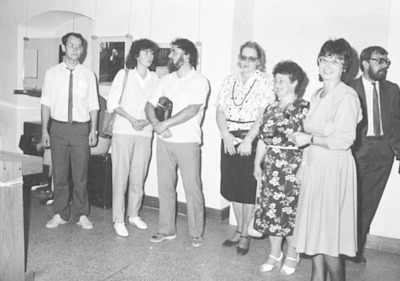 Wizyta bibliotekarzy Działu Regionalnego Biblioteki Obwodowej w Brześciu w Wojewódzkiej i Miejskiej Bibliotece Publicznej w Białej Podlaskiej - otwarcie wystawy w Muzeum Okręgowym Fotografia polska lat 80-tych