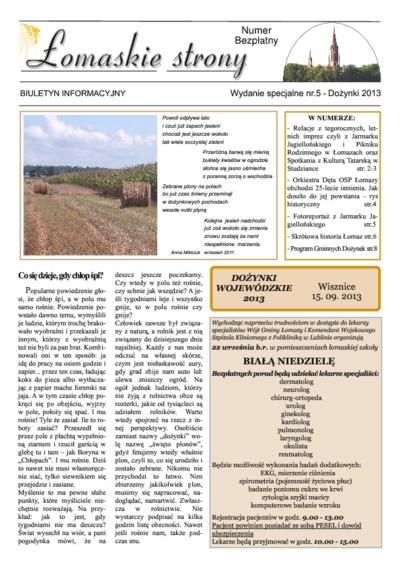 Łomaskie Strony : biuletyn mieszkańców Łomaz i okolic R. 5 (2013) wydanie specjalne nr 5