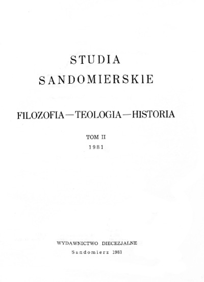 Studia Sandomierskie, Tom II, 1981 r.