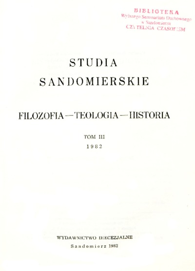 Studia Sandomierskie, Tom III, 1982 r.