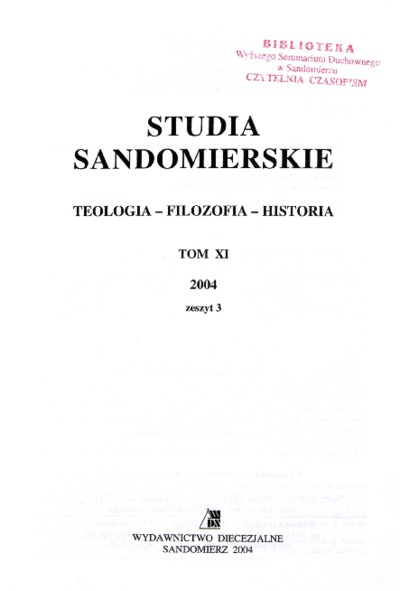Studia Sandomierskie, Tom XI, 2004 r., zeszyt 3