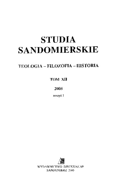 Studia Sandomierskie, Tom XII, 2005 r., zeszyt 1