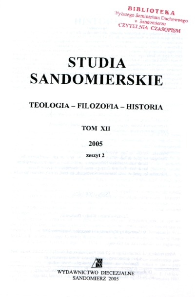 Studia Sandomierskie, Tom XII, 2005 r., zeszyt 2