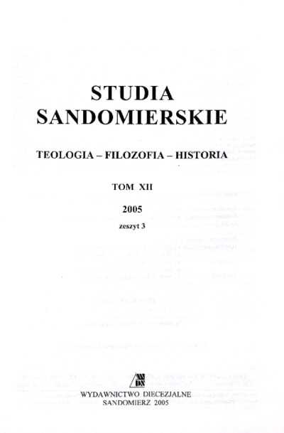 Studia Sandomierskie, Tom XII, 2005 r., zeszyt 3