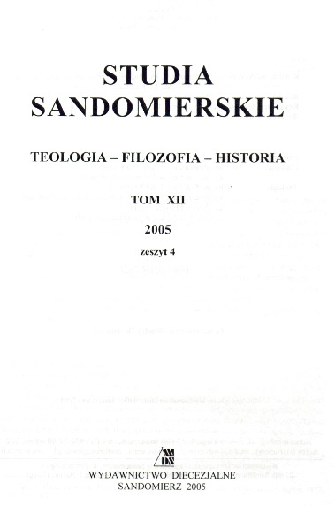 Studia Sandomierskie, Tom XII, 2005 r., zeszyt 4