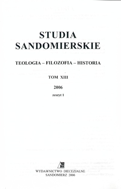 Studia Sandomierskie, Tom XIII, 2006 r., zeszyt 1