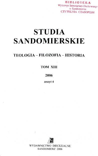 Studia Sandomierskie, Tom XIII, 2006 r., zeszyt 4