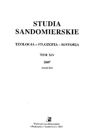 Studia Sandomierskie, Tom XIV, 2007 r., zeszyt 2-4