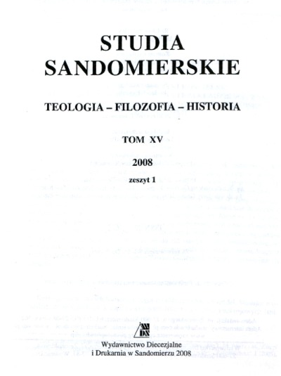 Studia Sandomierskie, Tom XV, 2008 r., zeszyt 1