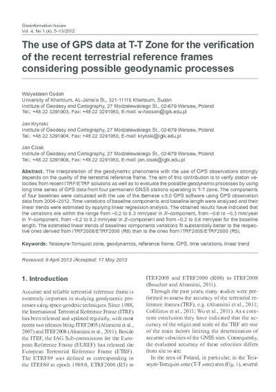 The use of GPS data at T-T Zone for the verification of the recent terrestrial reference frames considering possible geodynamic processes