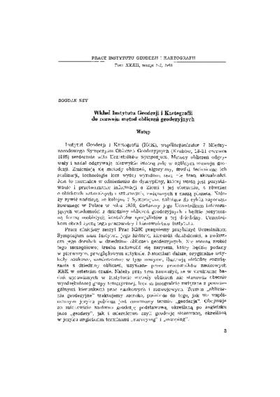 Wkład Instytutu Geodezji i Kartografii do rozwoju metod obliczeń geodezyjnych