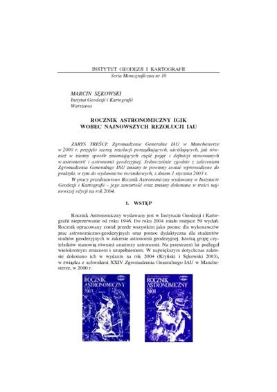 Rocznik Astronomiczny IGIK wobec najnowszych rezolucji IAU