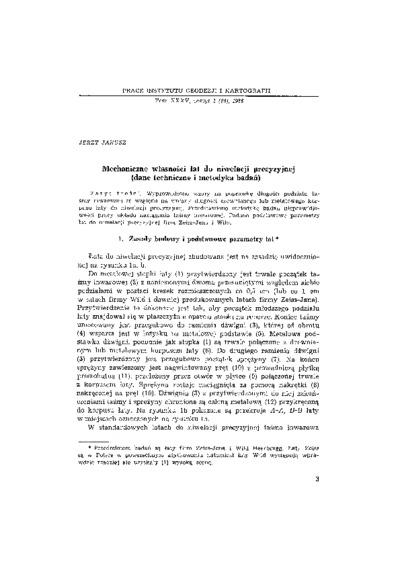 Mechaniczne własności łat do niwelacji precyzyjnej(dane techniczne i metodyka badań)