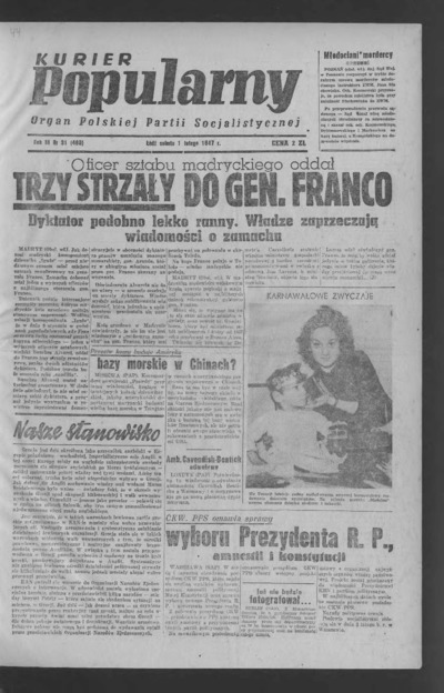 Kurier Popularny : organ Polskiej Partii Socjalistycznej. 1947-02-01 R. 3 nr 31