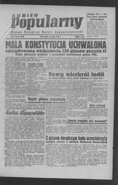 Kurier Popularny : organ Polskiej Partii Socjalistycznej. 1947-02-21 R. 3 nr 51