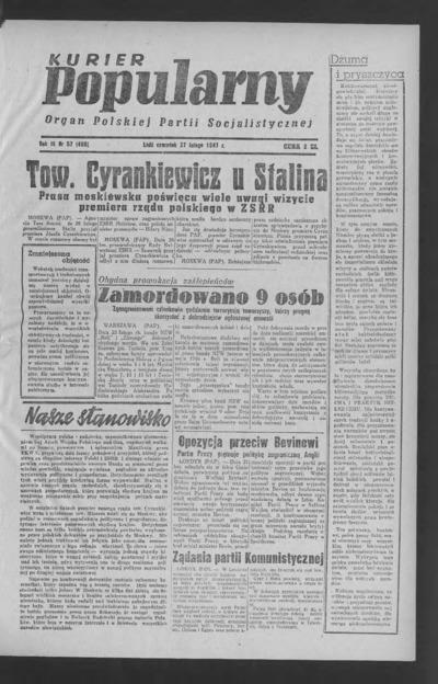 Kurier Popularny : organ Polskiej Partii Socjalistycznej. 1947-02-27 R. 3 nr 57