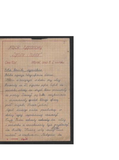 Kącik tygodniowy Zgroza i Humor. 1944-02-08