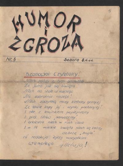Humor i Zgroza : tygodnik. 1944-04-08 [R. 1] nr 8