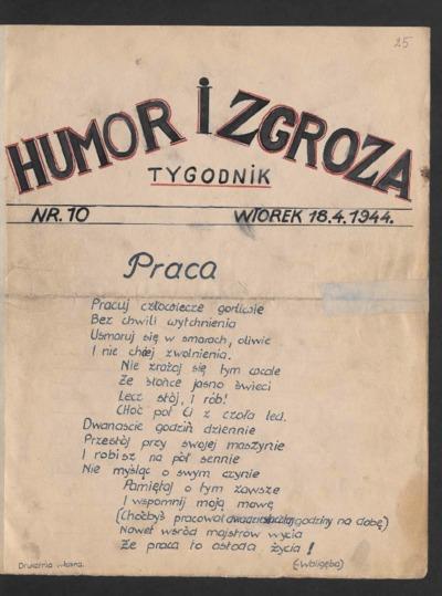 Humor i Zgroza : tygodnik. 1944-04-18 [R. 1] nr 10