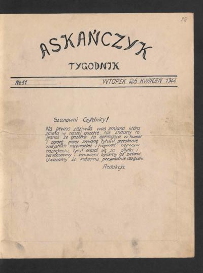 Askańczyk : tygodnik. 1944-04-25 [R. 1] no 11