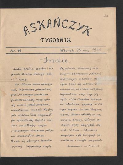 Askańczyk : tygodnik. 1944-05-23 [R. 1] nr 14