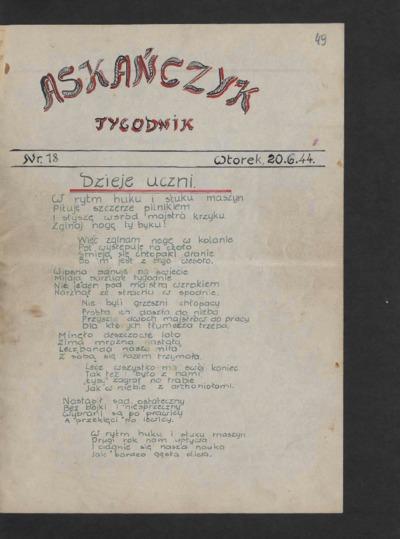 Askańczyk : tygodnik. 1944-06-20 [R. 1] nr 18
