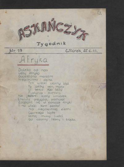 Askańczyk : tygodnik. 1944-06-27 [R. 1] nr 19