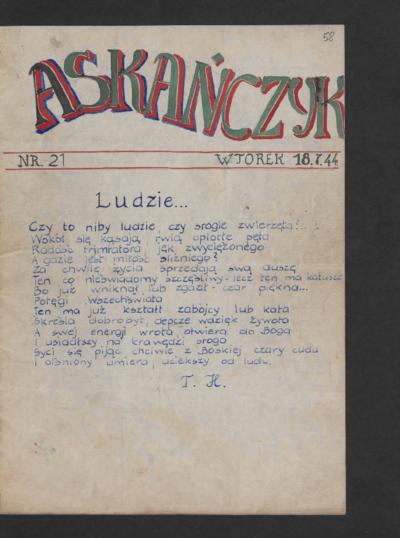 Askańczyk : tygodnik. 1944-07-18 [R. 1] nr 21