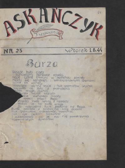 Askańczyk : tygodnik. 1944-08-01 [R. 1] nr 23