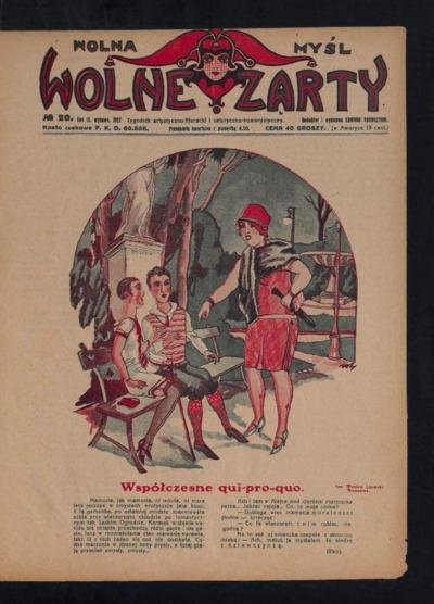 Wolna Myśl Wolne Żarty : tygodnik artystyczno-literacki i satyryczno-humorystyczny. 1927 R. 9 no 20