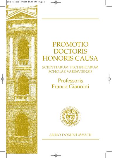 Promotio Doctoris Honoris Causa Scientarum Technicarum Scholae Varsaviensis Professoris Franco Giannini