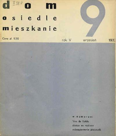 Dom, Osiedle, Mieszkanie 1933 wrzesień