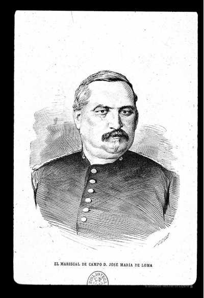 [Retrato de José María de Loma y Argüelles] [Material gráfico]Paris. Perea. Madera..Botella Carbonell. Barcelona, 1876