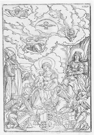 [La Virgen y el Niño con los santos Ulrich y Afra y las armas del obispo] [Material gráfico]