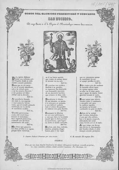 Gozos del glorioso presbitero y confesor San Eusebio [Texto impreso] :]de cuyo Santo á 14 de Agosto el Martirologio romano hace mencion