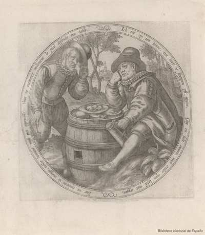 [Dos hombres junto a un tonel con comida]