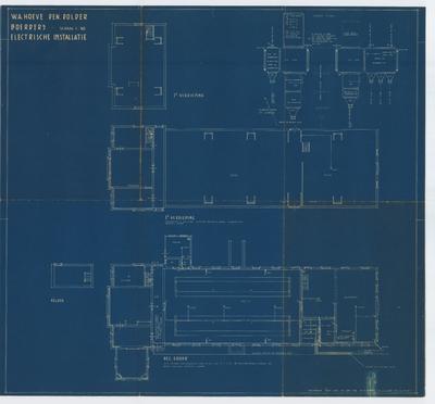 Technische tekening. Electrische installatie boerderij begane grond en 1e verdieping